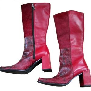 Enzo Angiolini Red Leather Boots ~ 6.5M
